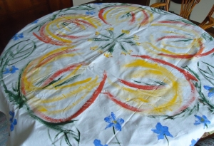 Stain painted tablecloth